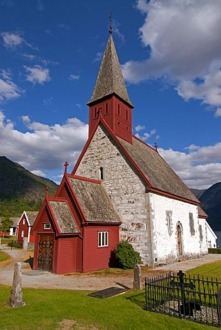 Dale Kyrkje church, in Luster near the banks of Lusterfjord, Norway, Europe