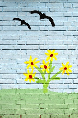 Flying birds, children's painting on a wall, mural painting, playschool, Muelheim an der Ruhr, Ruhr area, North Rhine-Westphalia, Germany, Europe