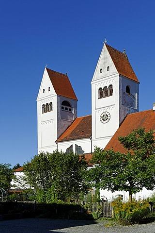 Parish Church of St. John the Baptist, former abbey of the Premonstratensian monks, Welfenmuenster, Steingaden, Upper Bavaria, Bavaria, Germany, Europe