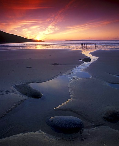 Sunset on the beach, Achill Island, County Mayo, Republic of Ireland, Europe