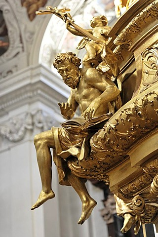 Sculpture, pulpit by L. Mattielli and A. Beduzzi, 1726, St. Stephen's Cathedral, Passau, Bavaria, Germany, Europe