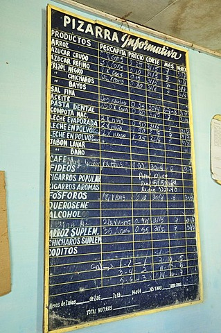 Blackboard with goods on offer in a bodega, a government store which trades food items for ration coupons, Baracoa, Cuba, Caribbean