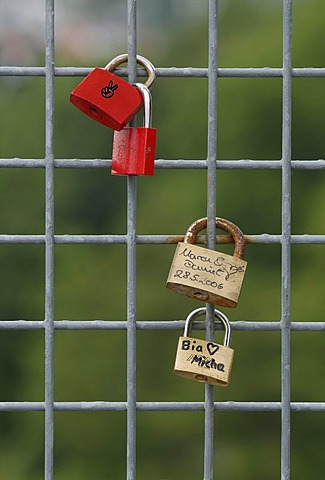 Padlocks on a wire grid, tokens of love