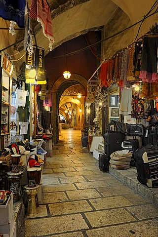 Bazaar alley between the Arab quarter, at front, and the Jewish quarter, at back, old city, Jerusalem, Israel, Middle East