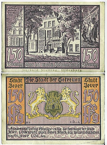 Promissory note, front and back, to the value of 150 pfennig from the savings bank of the city of Oldenburg, Jever