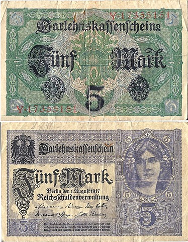 Coupon, front and rear, credit unions bill in the amount of 5 marks, circa 1917, National Debt Office of Germany, Reichsschuldenverwaltung