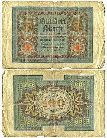 Old banknote, front, Reichsbanknote, 100 mark, Reichsbankhauptkasse, Reichsbankdirektorium, circa 1920