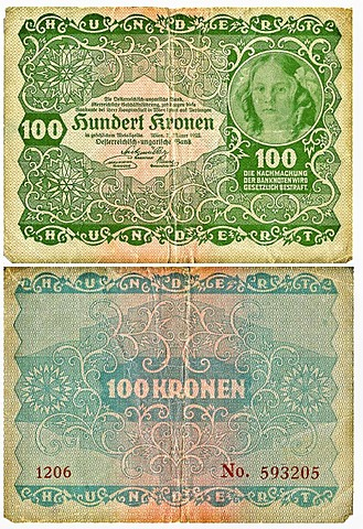 Old banknote, front and rear, 100 kronen, Austro-Hungarian Bank, circa 1922