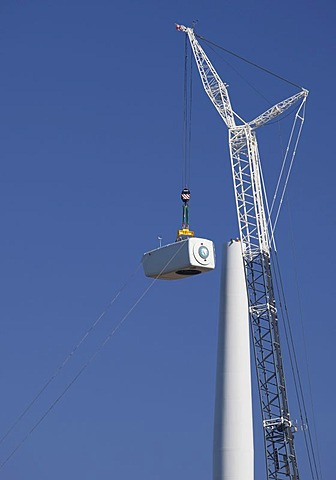 Construction of a wind farm; the 133-turbine, 212.8-megawatt project is being constructed by Invenergy Wind LLC and DTE Energy, Breckenridge, Michigan, USA, America