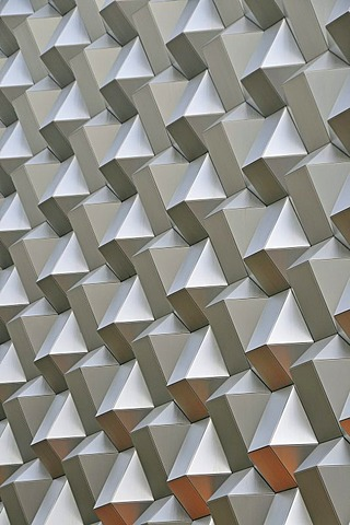 Facade of the Centrum Galerie shopping mall, honeycomb structure, Dresden, Saxony, Germany, Europe, PublicGround