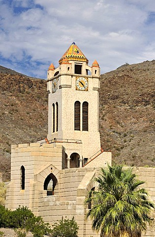 Chimes Bell Tower, Scotty's Castle, museum and visitor centre, Death Valley National Park, Mojave Desert, California, USA