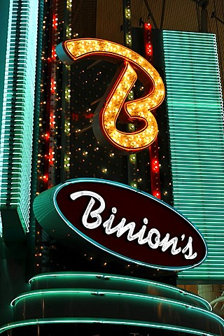 Neon logo of Binion's Horseshoe Gambling Hotel and Casino, Fremont Casino, downtown Las Vegas, Nevada, United States of America, USA, PublicGround