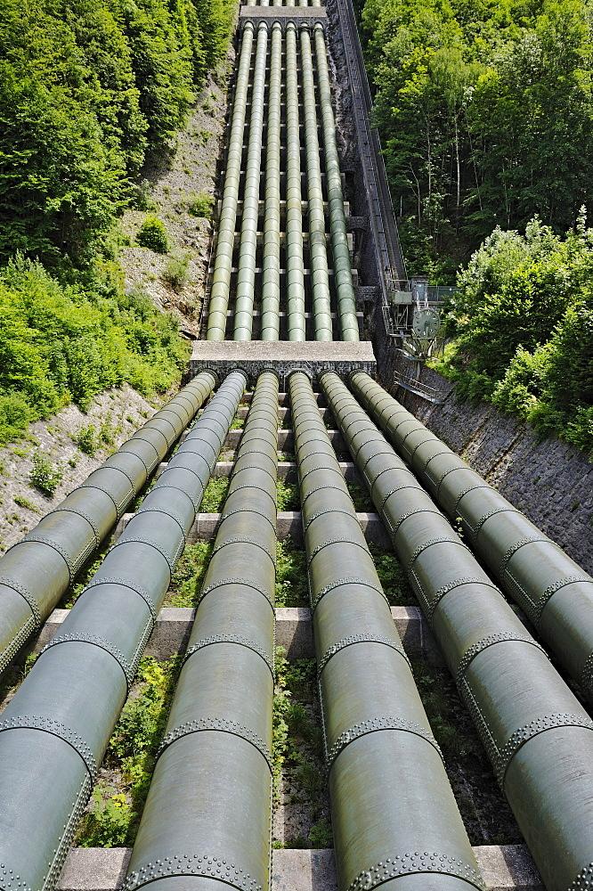 Metal pipes at the Walchenseekraftwerk Hydroelectric Power Station, Kochel am See, Bavaria, Germany, Europe