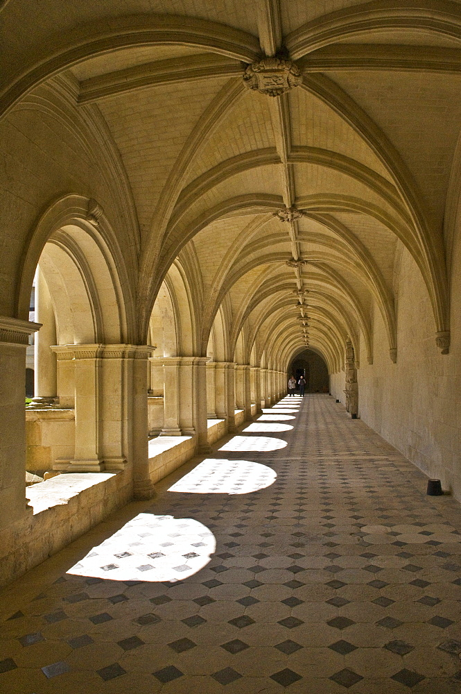 Medieval cloister, Abbaye de Fontevraud abbey, Aquitaine Romanesque, built from 1105 to 1160, Fontevraud-líAbbaye, Loire Valley near Saumur, Maine-et-Loire, France, Europe
