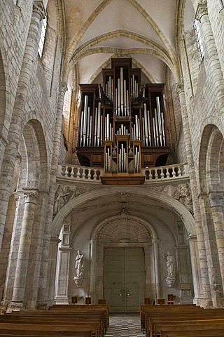 Nave of the basilica of Saint-Benoit-sur-Loire, Fleury Abbey, built from 1020 in Romanesque style, Saint-Benoit-sur-Loire, Loiret, Loire Valley, France, Europe