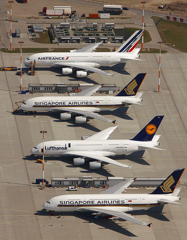 Aerial view, Hamburg Finkenwerder Airport, aircraft works, aircraft manufacturing plant, Hamburg, Germany, Europe