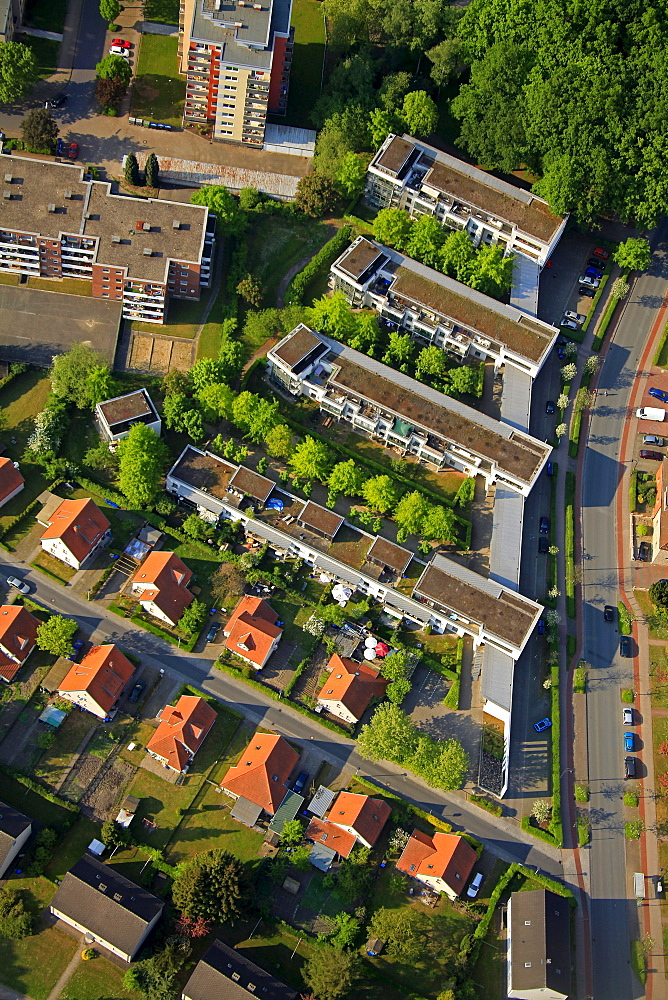 Aerial view, rental houses, HGB or Hamm housing association, Hamm, Ruhrgebiet region, North Rhine-Westphalia, Germany, Europe