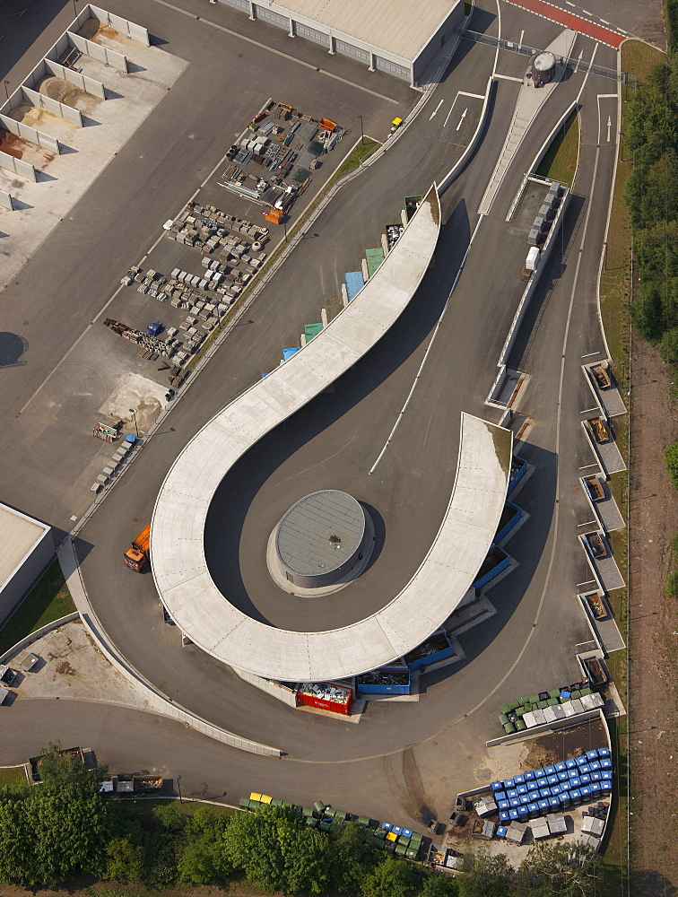 Aerial view, new municipal recycling center, Brasssertstrasse, Marl, Ruhrgebiet region, North Rhine-Westphalia, Germany, Europe
