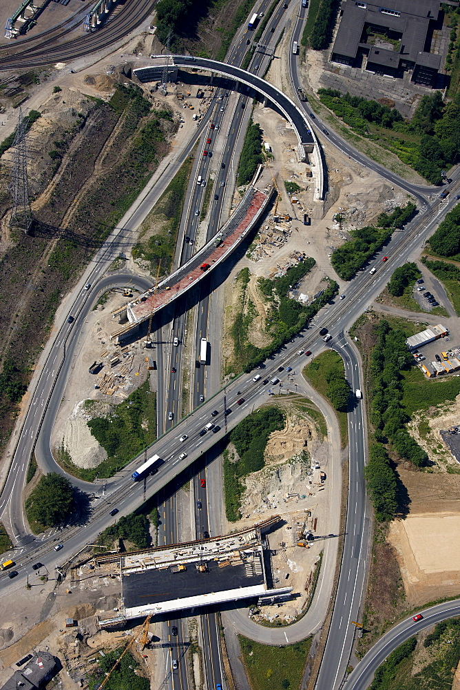 Aerial view, A40 motorway, reconstruction of the B1 motorway, area of the Donetsk-Ring, Stahlhausen motorway exit, Bochum, Ruhr area, North Rhine-Westphalia, Germany, Europe