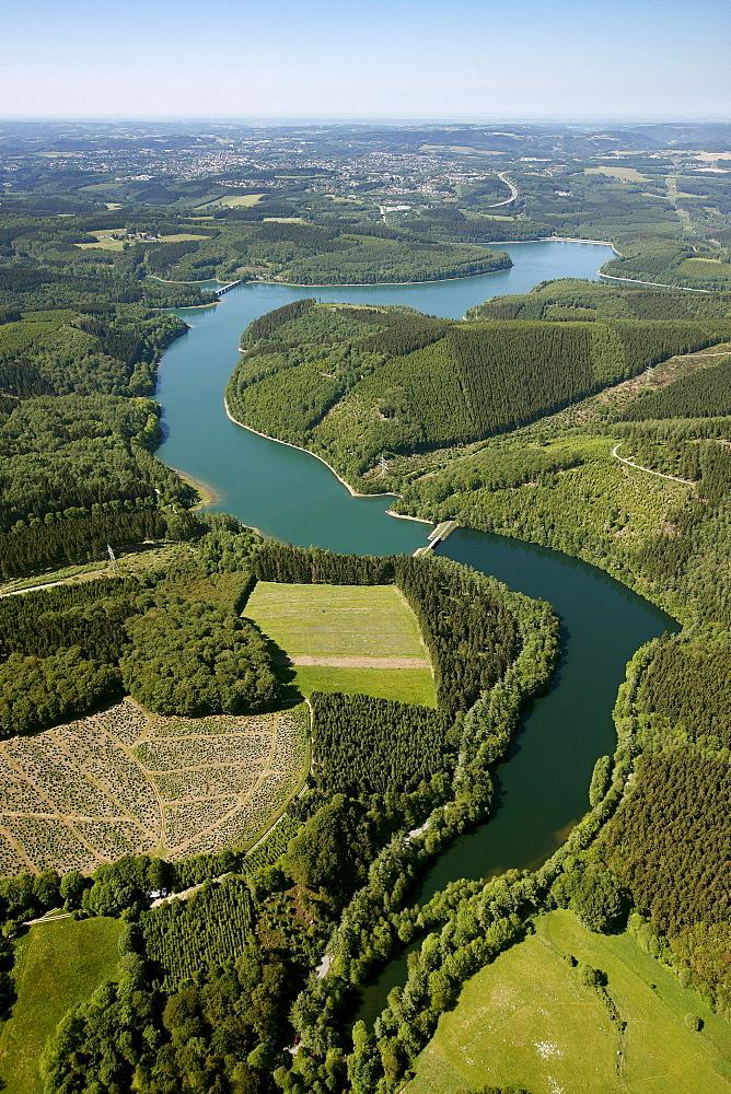 Aerial view, Versetal Dam, Rhenish Massif, Luedenscheid, Herscheid, Sauerland, North Rhine-Westphalia, Germany, Europe