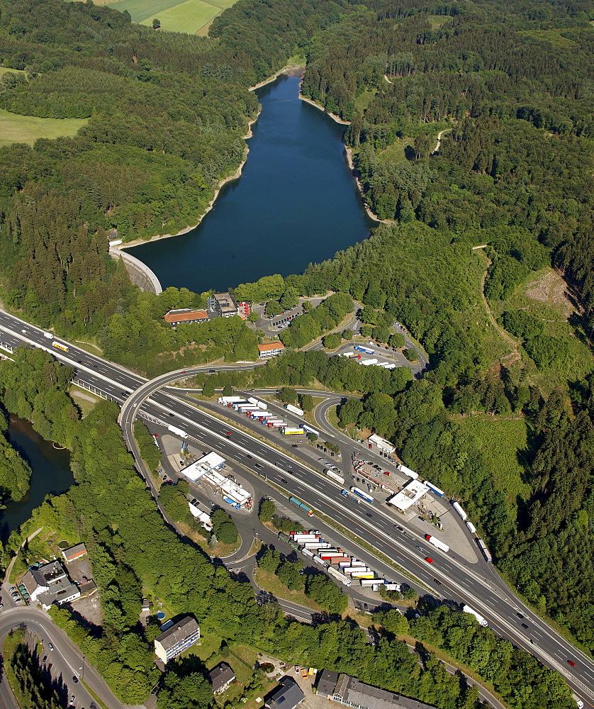 Aerial view, Eschbachtal Dam, Remscheid, North Rhine-Westphalia, Germany, Europe