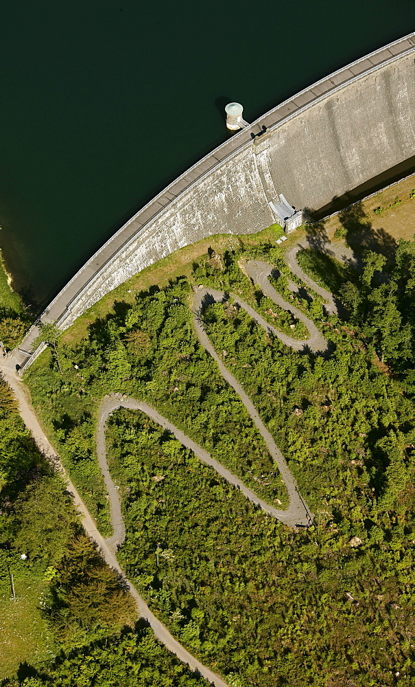 Aerial view, serpentines on the dam wall of the Neyetalsperre dam, Wipperfuerth, Oberbergischer Kreis district, North Rhine-Westphalia, Germany, Europe