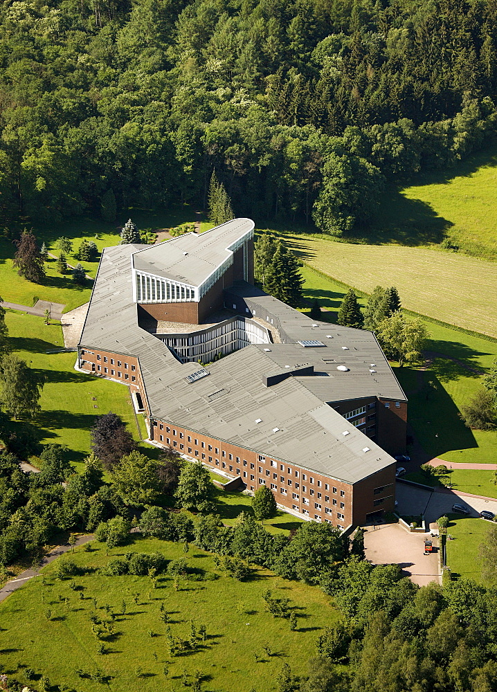 Aerial view, Olpe Monastery, Convent of the Franciscan Sisters of Perpetual Adoration, Olpe, Sauerland, North Rhine-Westphalia, Germany, Europe
