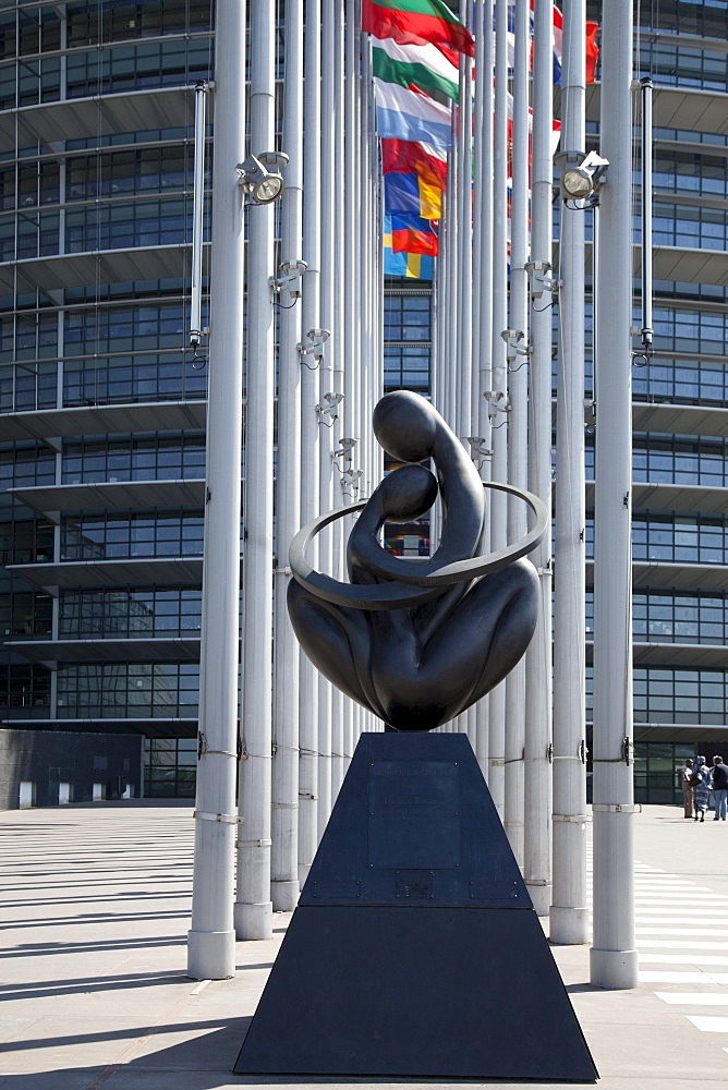 Sculpture, Europe A Coeur, by Ludmila Tcherina, symbol of the European Union, European Parliament, Strasbourg, Alsace, France, Europe