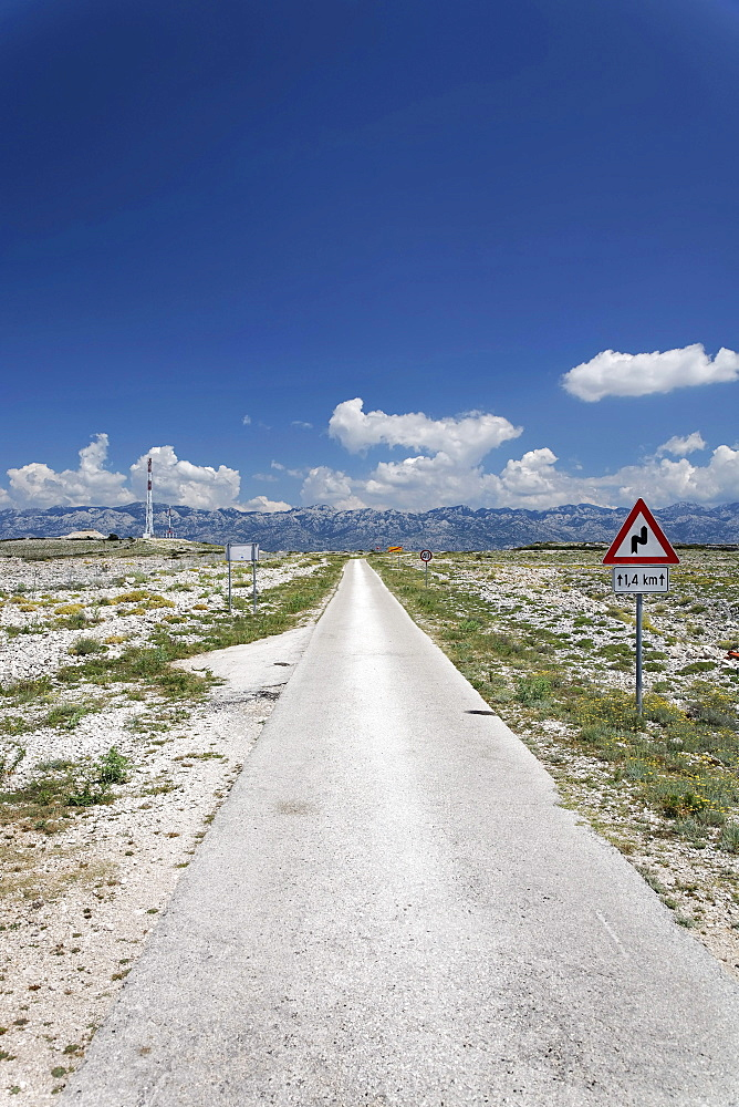 Country road on Pag island, Zadar, Croatia, Dalmatia, Europe