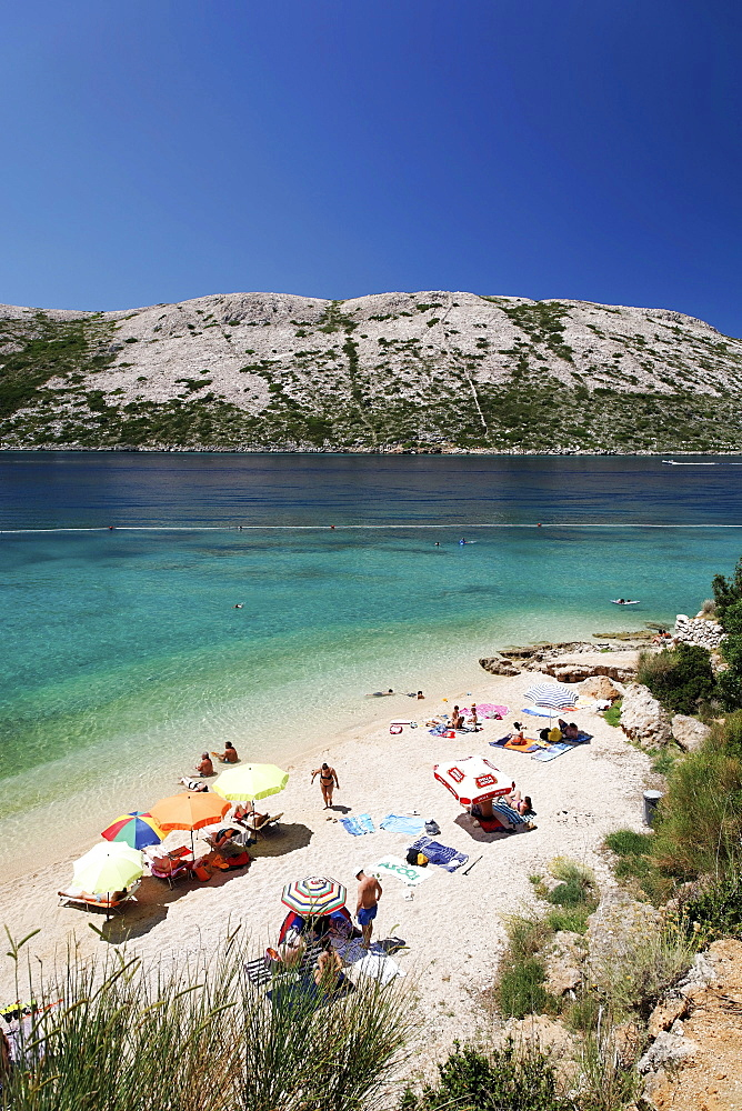 Pebble beach on Rab island, Primorje-Gorski Kotar county, Croatia, Europe