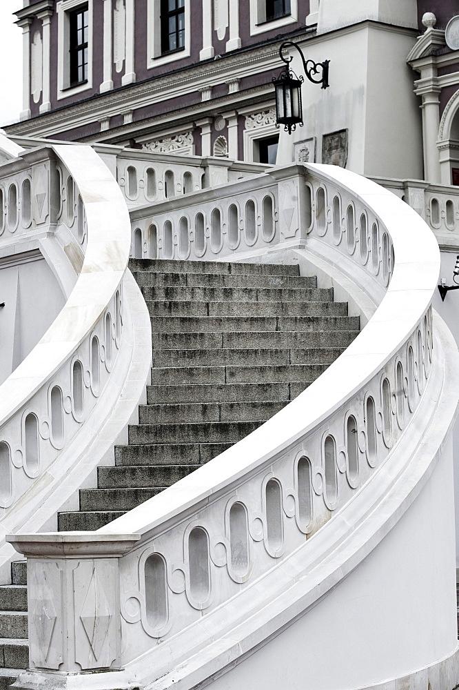 Stairs to town hall, Rynek, Zamosc, Lublin province, Poland
