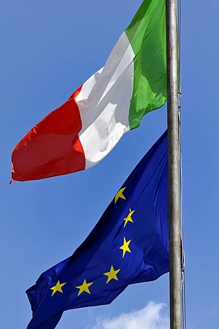 Italian national flag and a flag of Europe, Italy, Europe