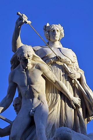 Statues, battle scene, detail view of the National Monument Vittorio Emanuele II, Rome, Lazio, Italy, Europe