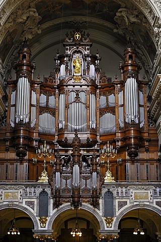 Sauer Organ with 7269 pipes, interior, Berlin Cathedral, Supreme Parish and Collegiate Church in Berlin, Museum Island, UNESCO World Heritage Site, Mitte district, Berlin, Germany, Europe