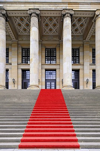 Red carpet on the step leading up to the Konzerthaus, concert hall, building by Schinkel, Gendarmenmarkt square, Mitte quarter, Berlin, Germany, Europe, PublicGround
