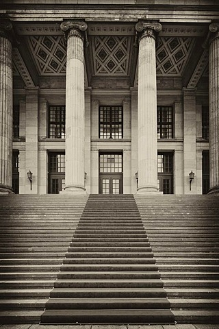 Black and white image, sepia-toned, front facade of the Konzerthaus concert hall, designed by Karl Friedrich Schinkel, Gendarmenmarkt square, Mitte district, Berlin, Germany, Europe, PublicGround