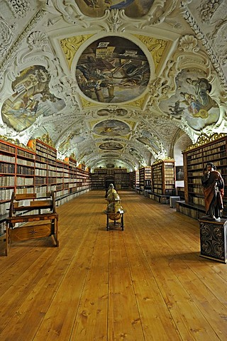 Globes, very old books, library, Hall of Theology, Strahov Monastery, Prague Castle, Hradcany, Prague, Bohemia, Czech Republic, Europe