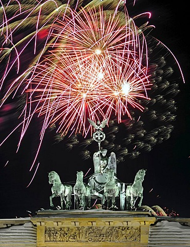 Quadriga on Brandenburg Gate, fireworks on New Years Eve, Berlin, Germany, Europe, Composing