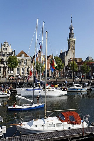 Marina and tower of the town hall, historic town of Veere, Walcheren, Zeeland, Netherlands, Europe