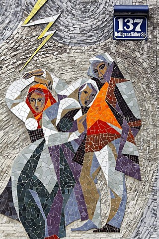 Three rural women protecting themselves from lightning, mosaic on a community tenement complex, 1960s, Vienna, Austria, Europe