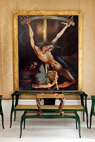 Lounge with a painting of the crucifixion, Ernst Fuchs Museum, former mansion of architect Otto Wagner, Vienna, Austria, Europe