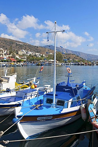 Boats in the port of Elounda, Crete, Greece, Europe