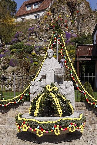Easter well, Obertrubach, Little Switzerland, Upper Franconia, Franconia, Bavaria, Germany, Europe