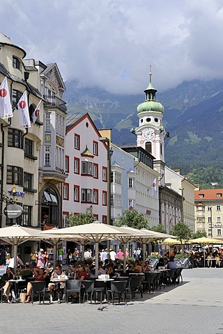 Maria-Theresien-Strasse street in the historic district of Innsbruck, Tyrol, Austria, Europe