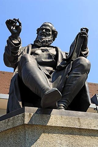 Hans Sachs Memorial, 1494-1576, Hans-Sachs-Platz, Nuremberg, Middle Franconia, Bavaria, Germany, Europe