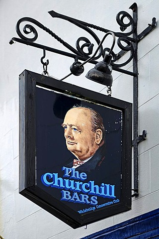 Inn sign, The Churchill Bars, 54 Molesworth Street, Wadebridge, Cornwall, England, United Kingdom, Europe