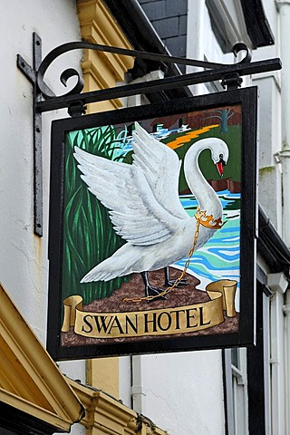 Hotel sign, Swan Hotel, 9 Molesworth Street, Wadebridge, Cornwall, England, United Kingdom, Europe