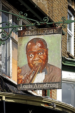 Restaurant sign, Louis Armstrong, 58 Maison Dieu Road, Dover, Kent, England, United Kingdom, Europe