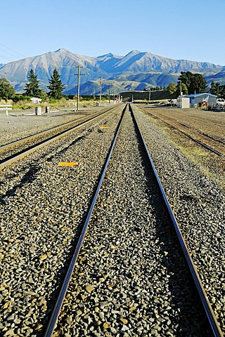 Rails of the railway line TranzAlpine, Trans Alpine of Kiwi Rail, running through the Southern Alps between Christchurch and Greymouth, South Island, New Zealand