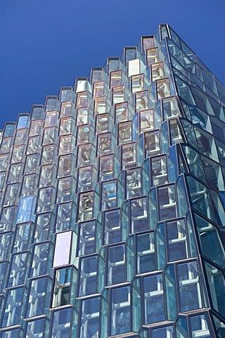 Honeycomb windows, facade of the Harpa concert hall, new landmark of Reykjavik, Iceland, Europe